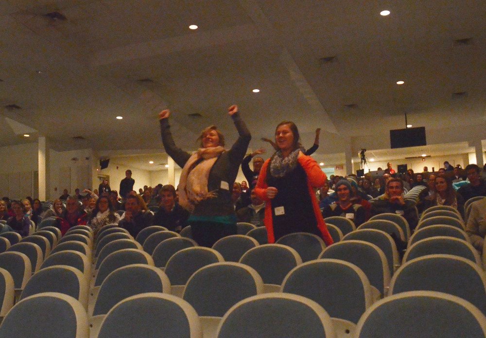 There was some interaction with the audience to show some excitement for prizes during NGU's Encounter Day November 1.