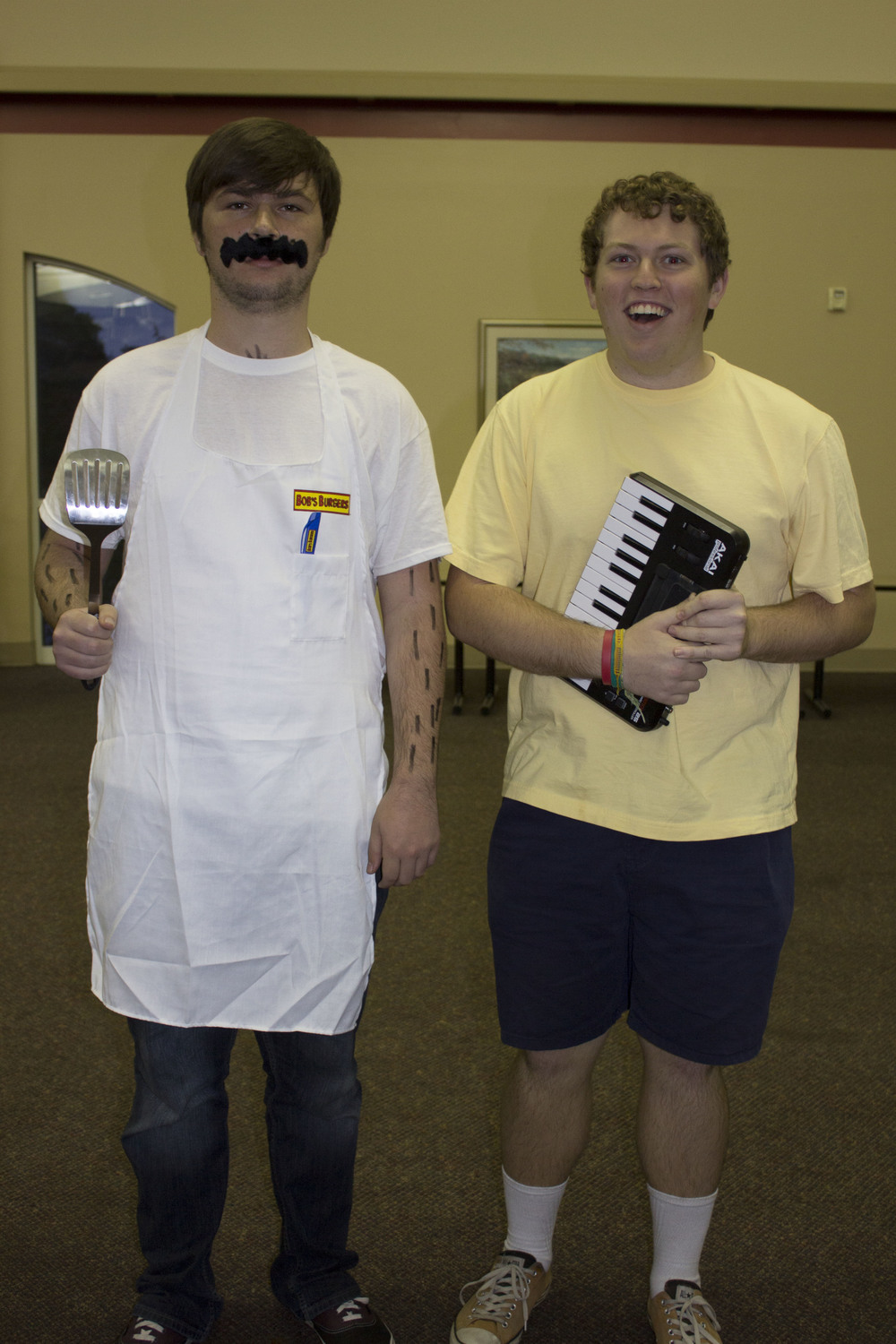 Junior Max Millsaps and Daniel Reeves dress up as Bob and Jimmy from Bob's Burgers.