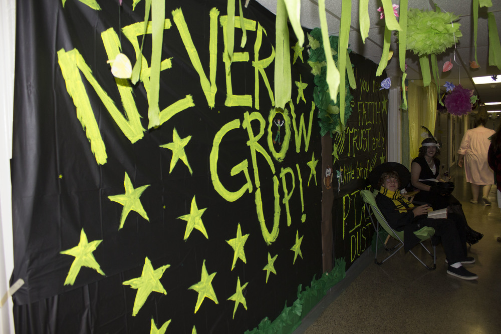 Upstairs Howard dorm decorated their hall with all things Peter Pan and Neverland.