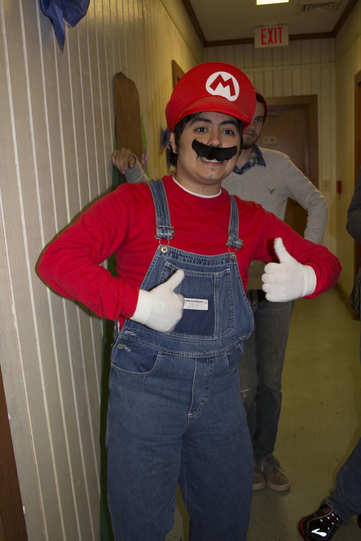 Senior Lucas Colmenares enjoys being Mario for an evening while going through the dorms.