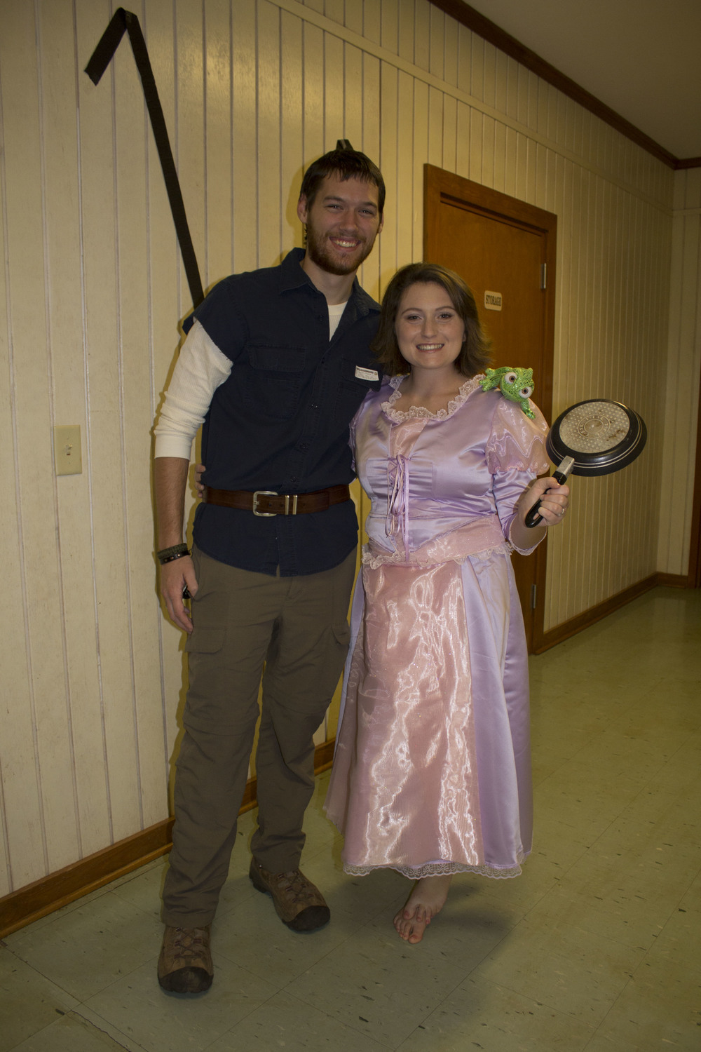 Senior Taci Bolin and guest Hunter Allen pair up to be Flynn Rider and Rapunzel from Tangled.
