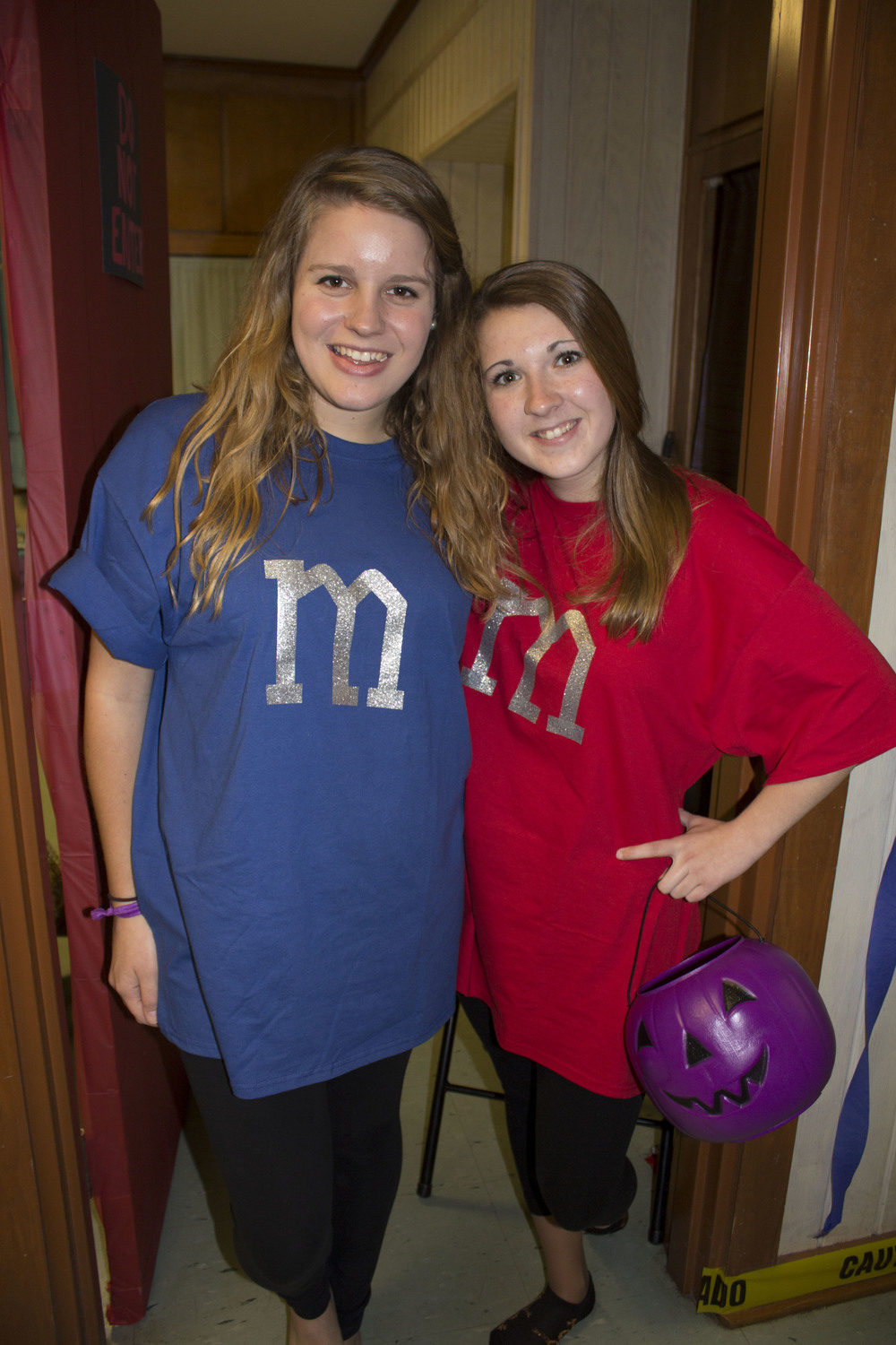 Sophomore friends Sarah Wells and Amy Coleman dress as matching M&M's.