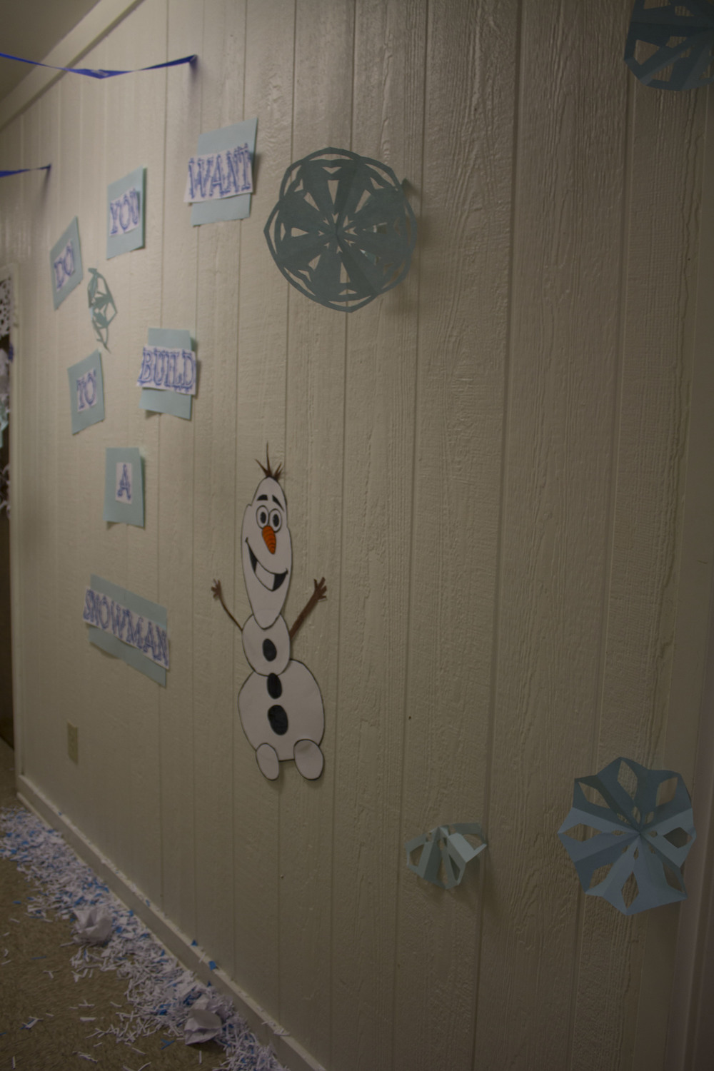 Upstairs Vandiver gets all the kids excited with their Frozen themed decorations.