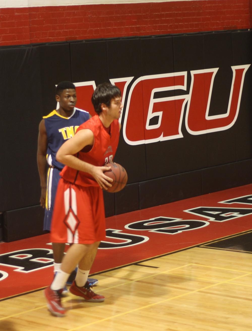 NGU player prepares to pass the ball.