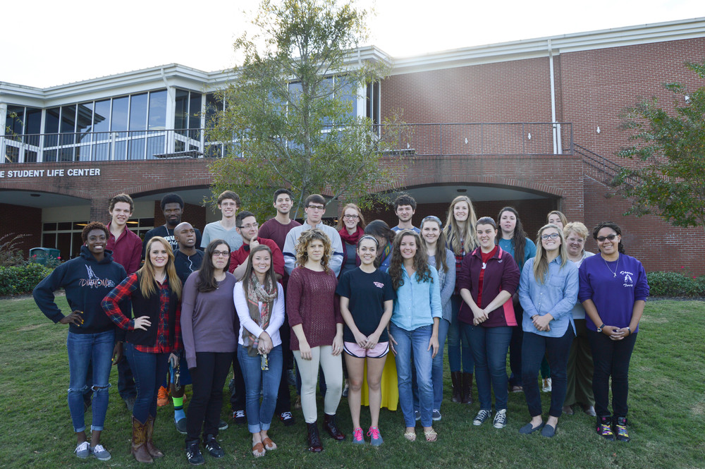 "The staff of ""The Vision Online,"" ""The Vision Magazine"" and ""The Vision Annual"" pose for a group picture during the Fall 2014 semester."