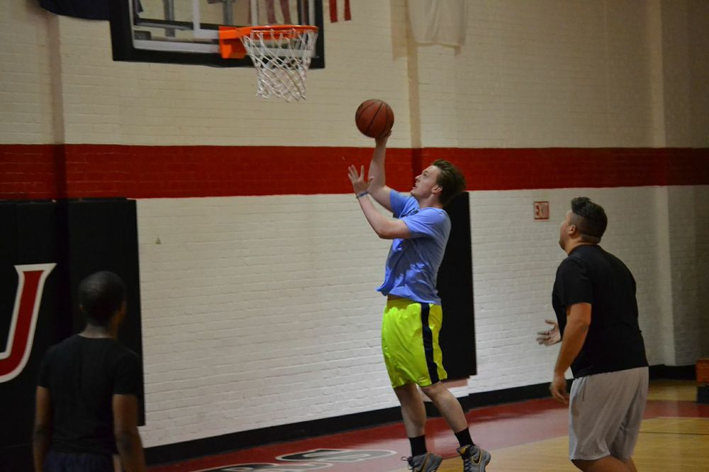 Josh Heatherly, a sophomore at NGU, plays intramural basketball for the second year.