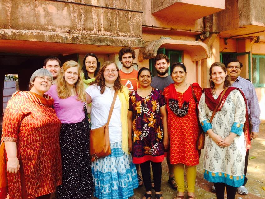 North Greenville biology students spread the Gospel in India by educating the people about the importance of good water quality.  (L-R) Christian Eddy, professor; Zach Conn, junior; Helen Martin, junior; Katie Taylor, senior; Olivia Schmal, sophomore; Grant Kahley, senior; Zachary Grey, junior; Natalie Schrader, senior