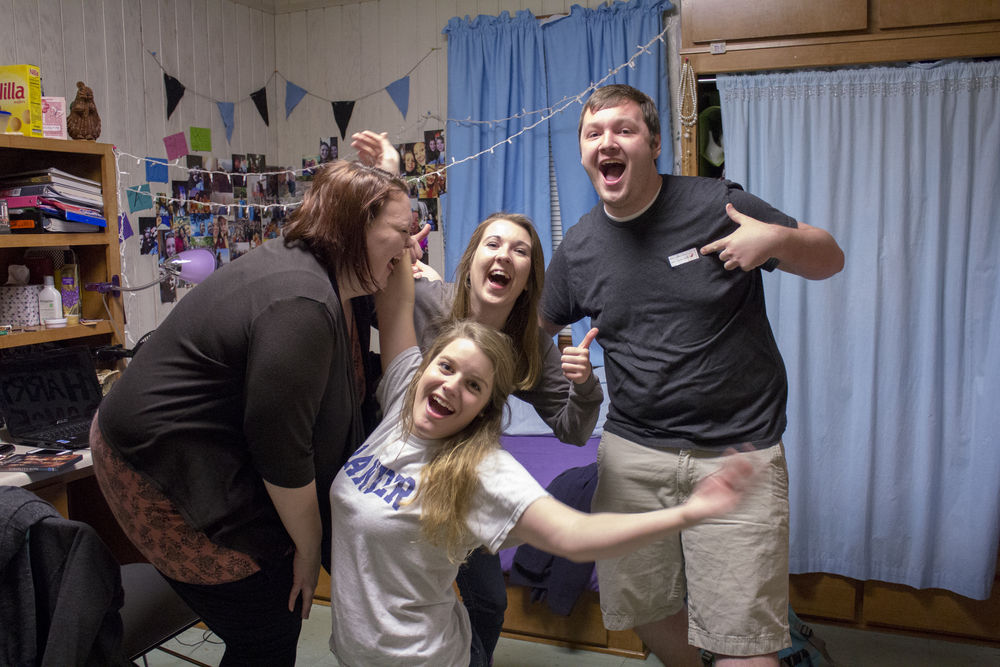 Once a semester guys have the opportunity to visit their female friends inside their dorm rooms. During spring semester, it falls over Valentine's day to make it a special time for the girls at NGU. This year it was held on February 10. Junior Adam Polk enjoys going over to visit sophomores Sarah Wells, Amy Coleman and junior Jessica Younger.
