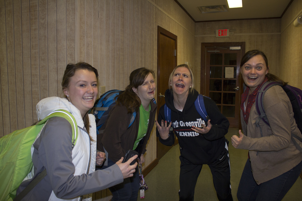 Because this open dorm was held on February 10, some students needed to go to the library for some quietness in order to get some work done for classes the next day. Sophomores Cheyanne Penlind, Emily Waugh, Hartley Smith and Ann Hayden Huxford show their excitement, as well as disgust, for going off to study in the library.