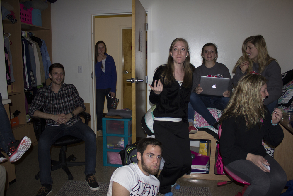 Others enjoy getting together and having the chance to be able to watch a movie together inside a dorm room on comfortable seats, such as the beds inside the room. Sophomore Marie Fout invited some of her friends to her room to watch a movie together.