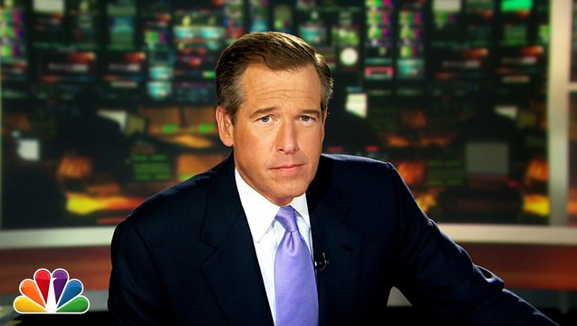 NBC former anchorman, Brian Williams, caught lying about multiple news coverage stories. Image from democracynow.com