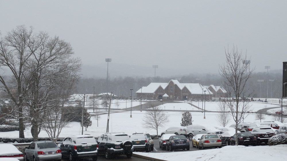 Photo by Alex Miller, Snow blanketed the campus