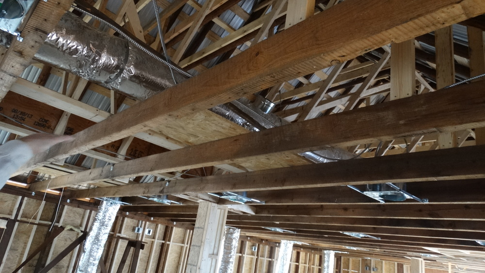 Builders on the project were able to use some of the old wooden planks from the original Wood Store.