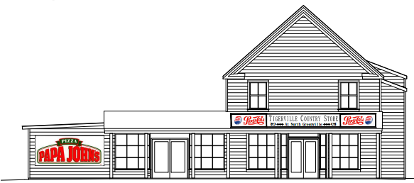 Architectural designs show what the finished Tigerville Country Store will look like.