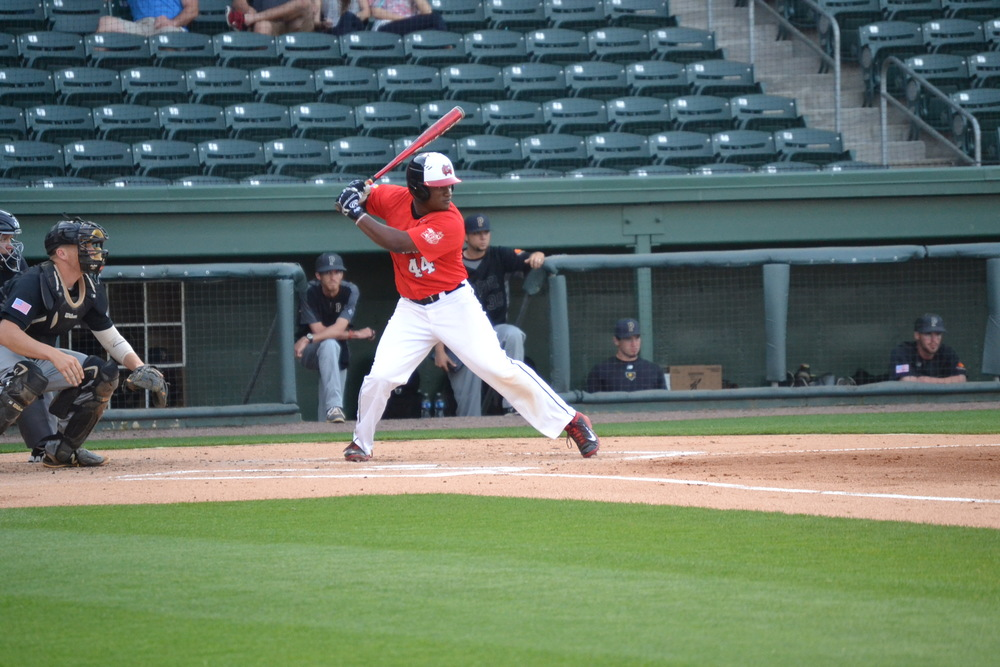 Jae Roberts from Columbia, S.C. swings hard looking for a spot on base.