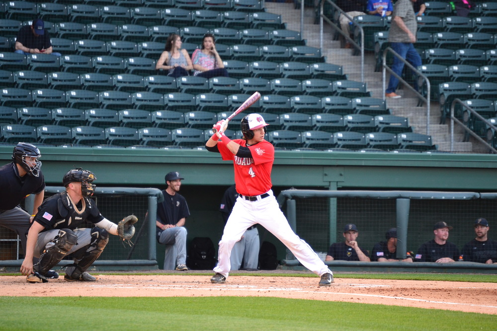 Wheeler Smith, a junior, steps up to bat to help bring the Crusaders to their victory at the Greenville Drive.