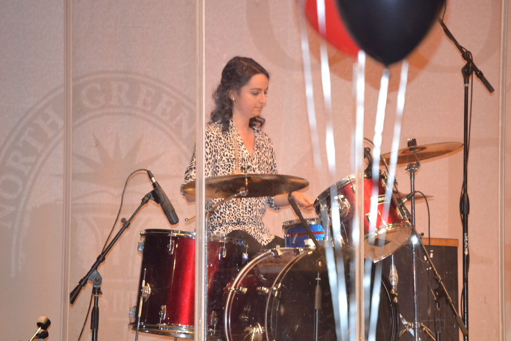Valorie Bostik shows the audience her awesome talent of playing the drums.