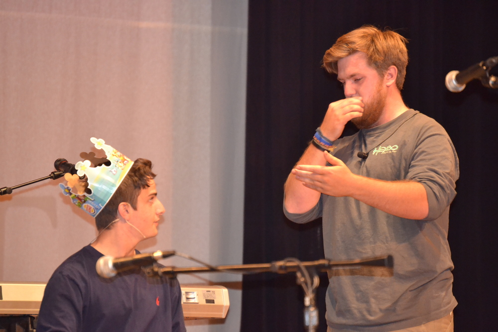 "Jon Andrews and Will Ayer entertain the audience with an improv skit of ""The Princess Bride."""