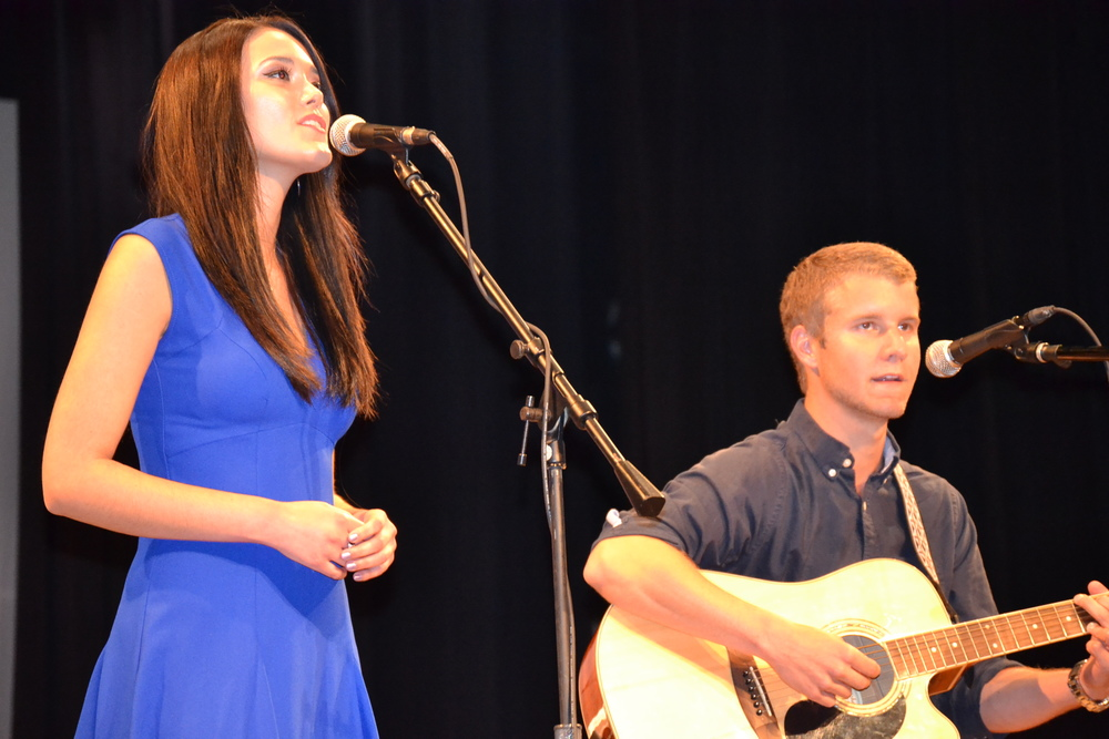 "Christal Potter and Christian Dilbert perform the song ""Shoulders"" at NGU's talent show."