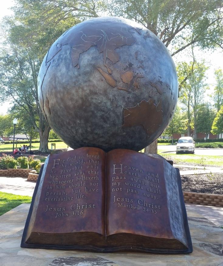 A statue outside North Greenville University's Craft Hemphill building.
