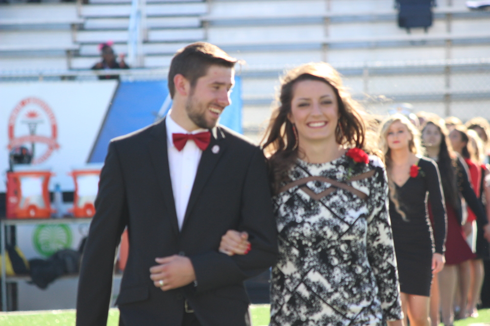 Hannah Mashburn was escorted on the field during the ceremony.
