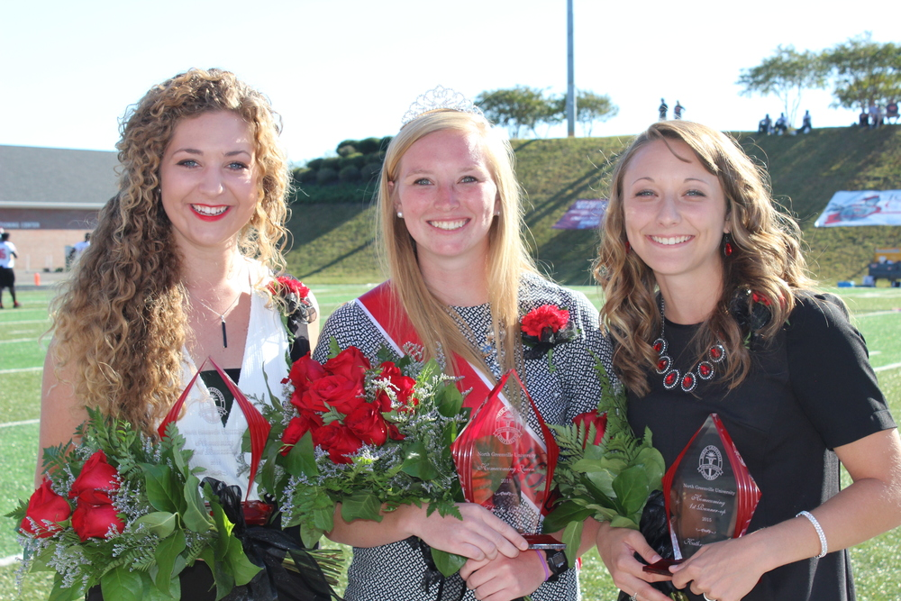 The homecoming queen and runner-ups posed for a photo after the event. The photo features Anna Shoop, Christie Reilly and Kathryn Allen.