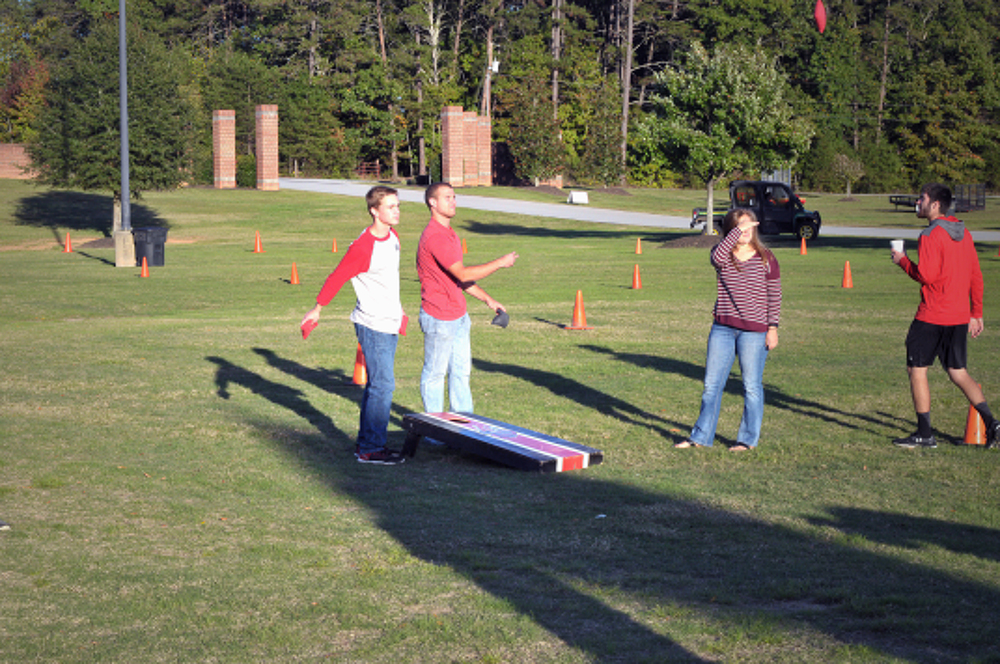 Students participated in cornhole tournaments during the week.