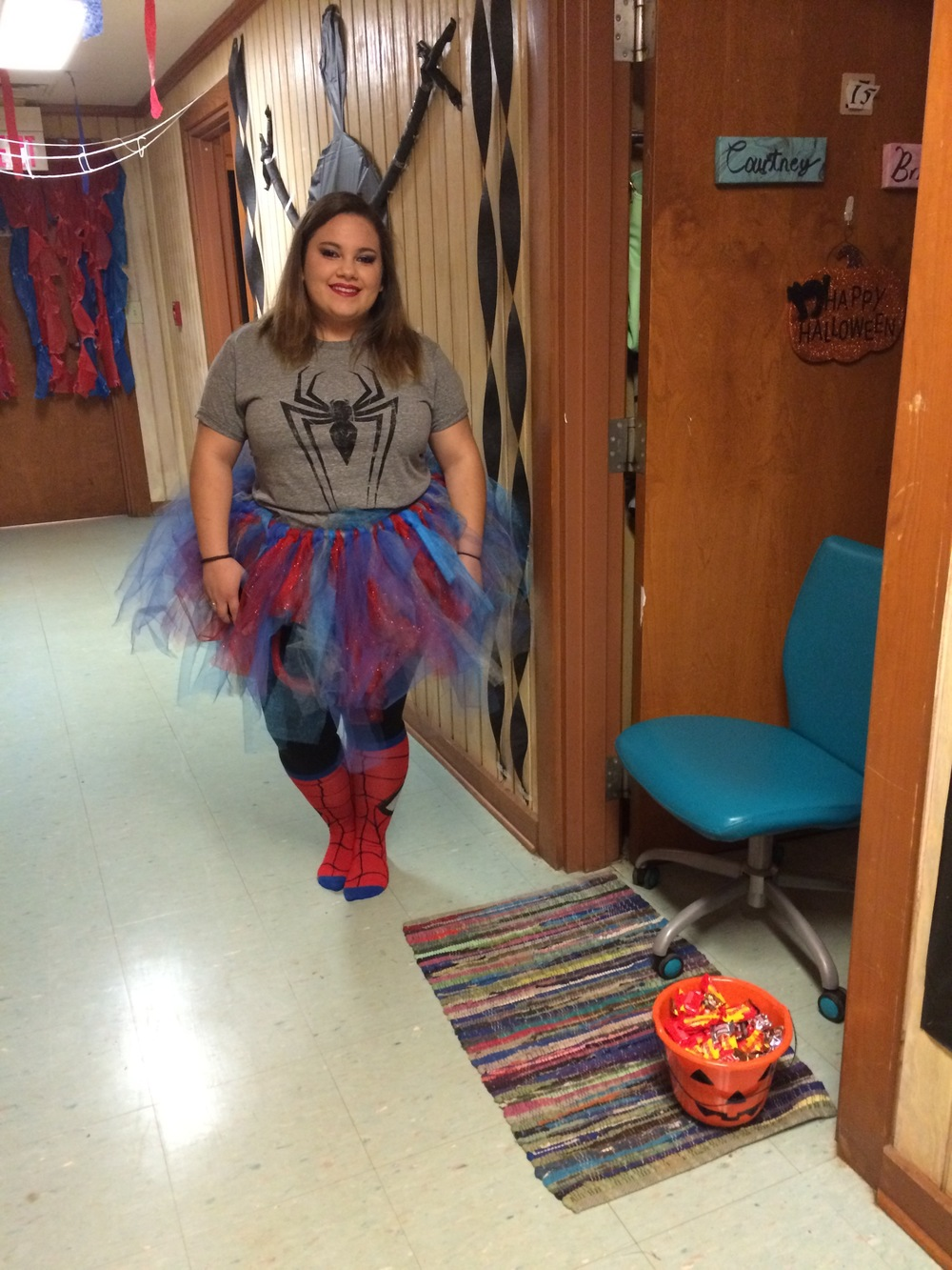 Brieanna McCall prepared for trick-or-treaters in Hortan Tingle.