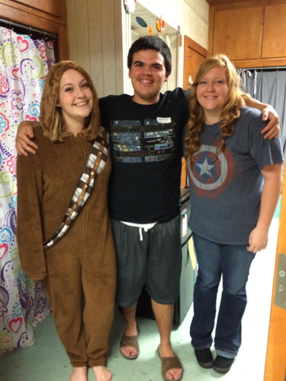 Jenna Thomas, Garrett Roberye and Rebekah Burrell experienced open dorm night in Emery.