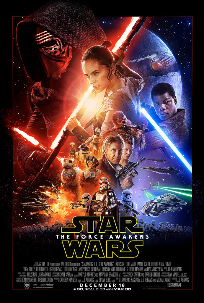 The newly released theatrical poster for  Star Wars: The Force Awakens.  Retrieved from starwars.com.