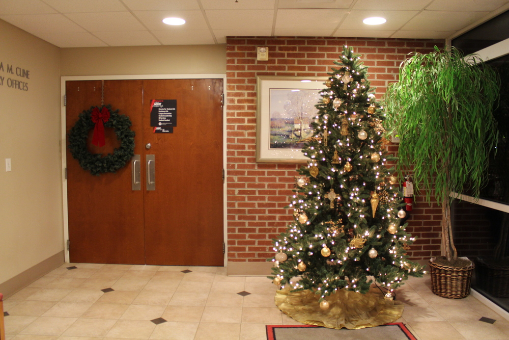The Student Services Department's tree brings the Christmas spirit.
