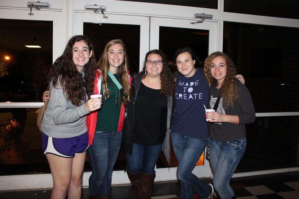 Elizabeth Kirkland,Kady Floyd, Hayden Harris, Emily Brown and Sarah Flook enjoying the free coffee and music at the STUDio Coffehouse