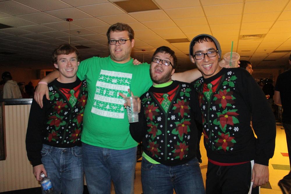 David Wells, Michael Grubbs, Jeremy Schultz and Will Gouber show their festive spirit