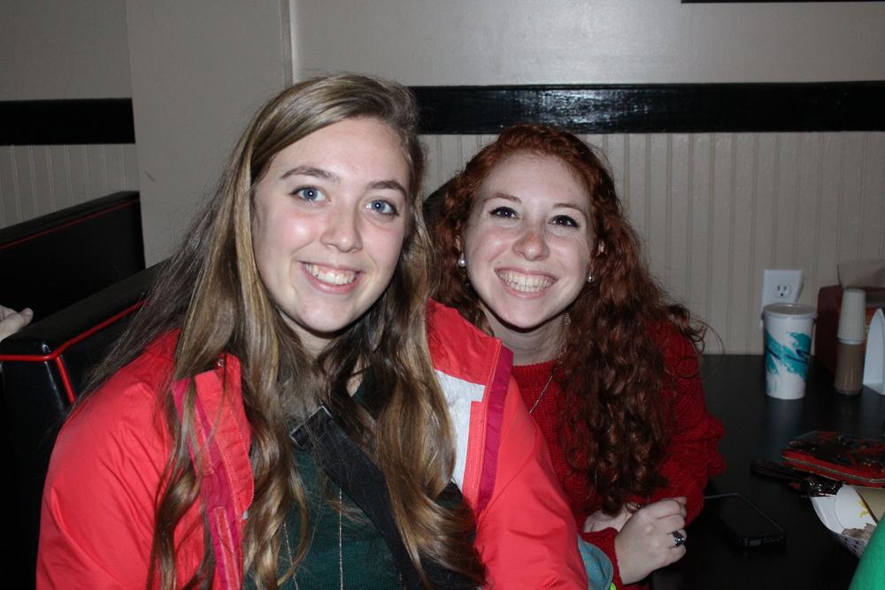 Kady Floyd and Kate Welkner share smiles before finals begin.