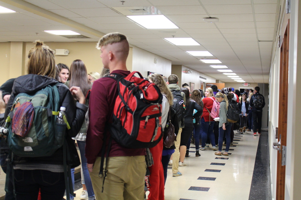 Nothing makes students more eager to stand in line than dogs.