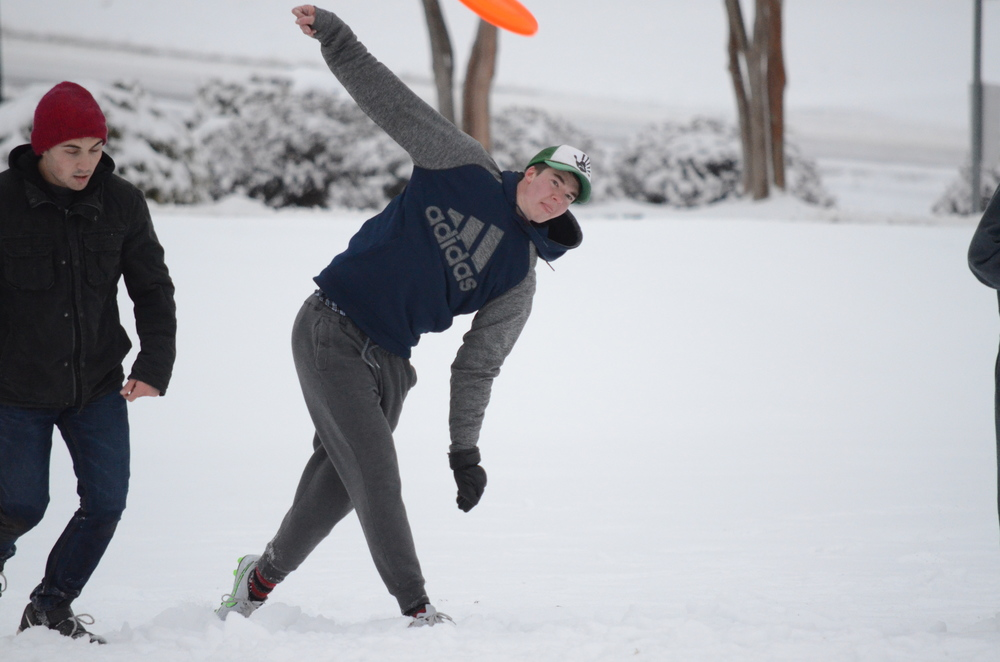 Josh Leister loves playing Ultimate Frisbee, even in cold conditions.    Photo by: Rebecca Meek