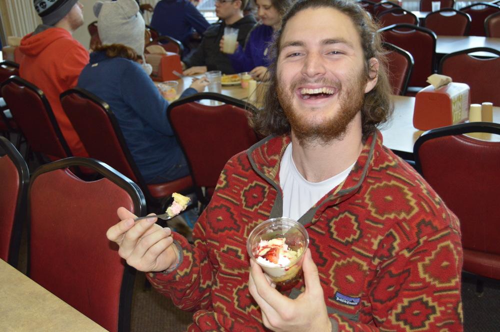 Bay Bennett enjoys a Valentine's themed strawberry shortcake dessert.