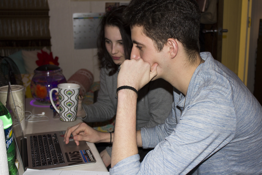 Meghan Miller and Jordon Conner enjoy the chance to enjoy a hot beverage and some quality time during open dorms.