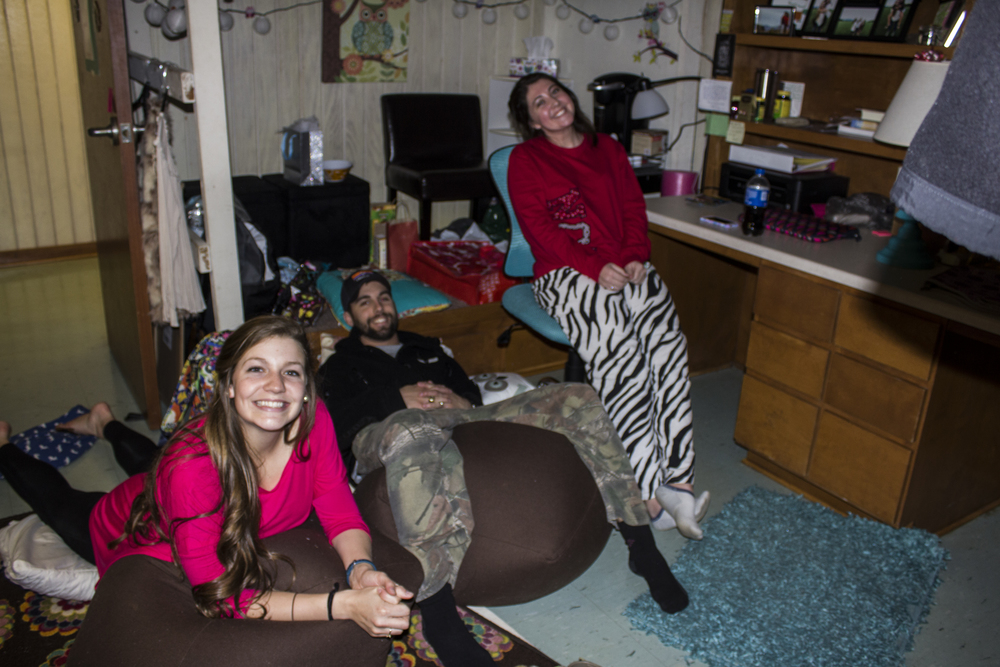 Becklin Blankenship enjoys a movie and the company of her fiance Franklin Gossett and friend Ashli Livingston to share it with.