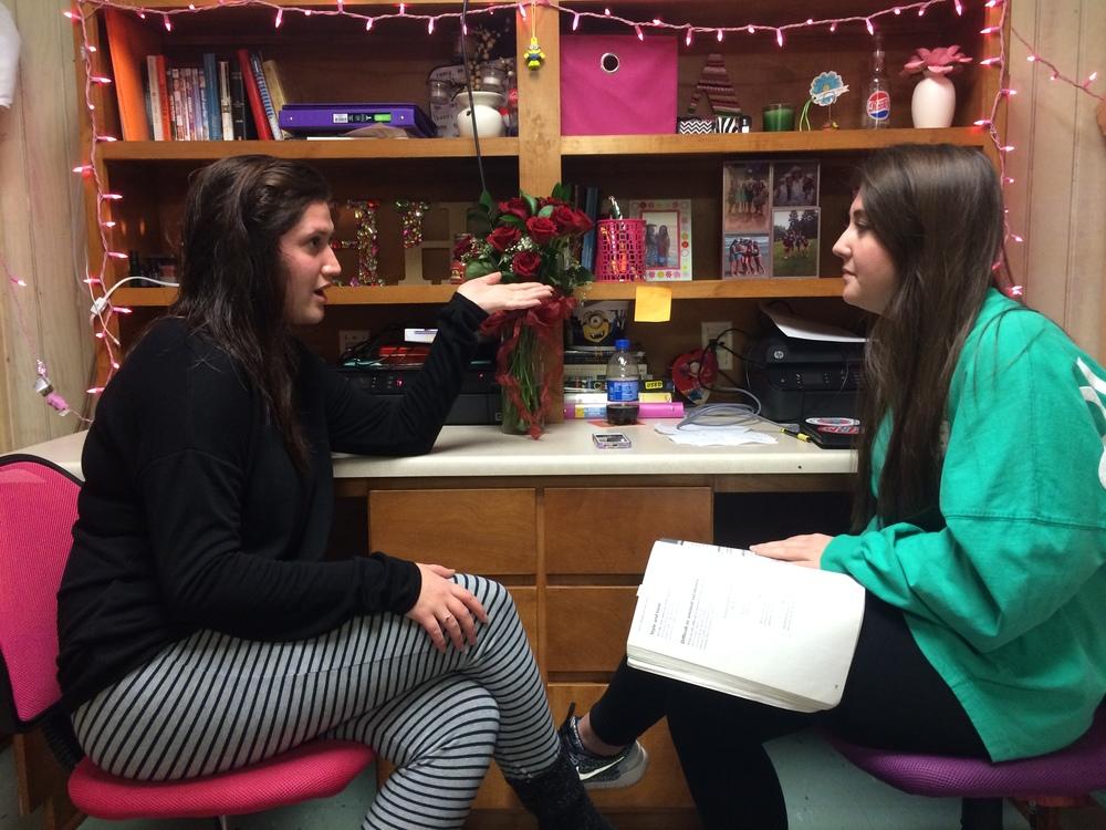 Resident Assistant and elementary education FYE mentor,Ashli Livingston (right) mentors one of her residents, Emma Houston (left).