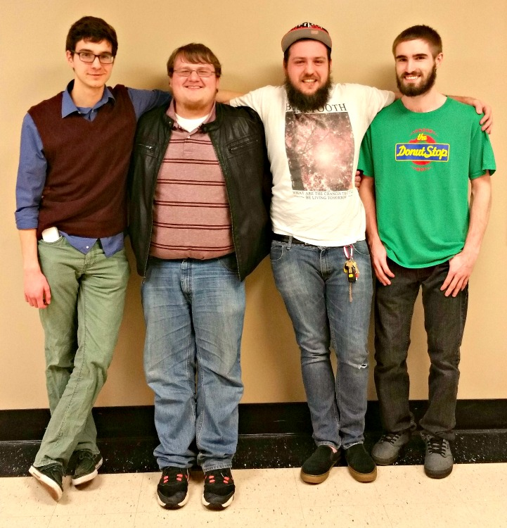Gamers of the Round Table officers: (left-to-right) Samuel Maycock, Mitchell McDaniel, Robzy Bolin and Michael Miller.  Photo courtesy of Shelby Snigar.