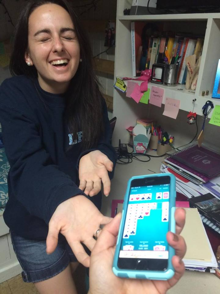 Valerie Bostick gives up playing Solitaire on her cellphone.