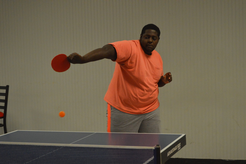 Shamark Anderson performs a spin shot.