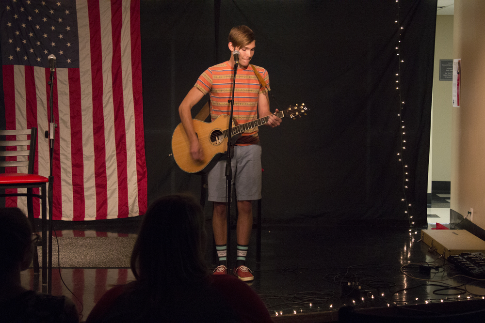"""Caleb Cabe starts off the night with a performance of """"Then"""" by Brad Paisley."""