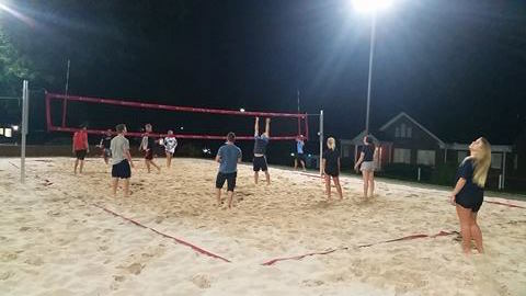 After a day of check-in, the students enjoyed a game of sand volleyball. Photo credit: Lane Koch