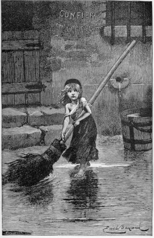 Photo courtesy of Wikimedia Commons.  An 1886 engraving by Émile Bayard illustrating the character of Cosette from Hugo's novel.