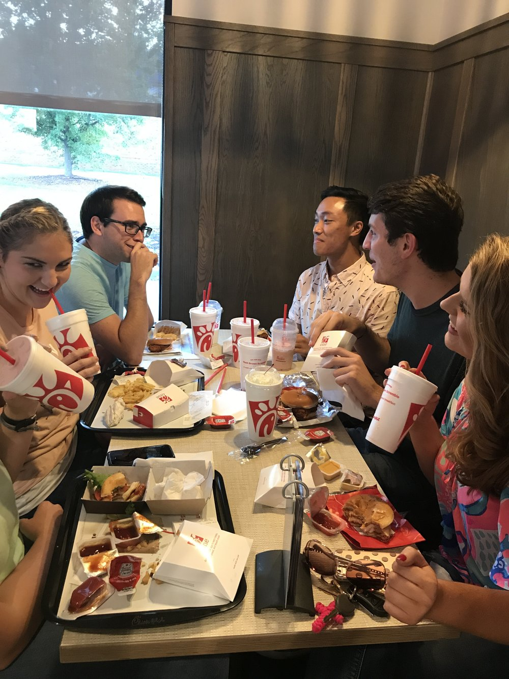 Savannah Hovis (junior), Clayton Caldwell (junior), Adam Kelly (sophomore), Clay Webb (senior) and Alexandra McNider (junior) gather in fellowship as they dine at the new Chik-Fil-A.