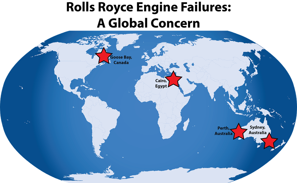Airlines affected by Rolls Royce engine failures in 2017 include AirAsia X, China Eastern Airlines, Egypt Air and Air France. Infographic courtesy of Carson Myers.