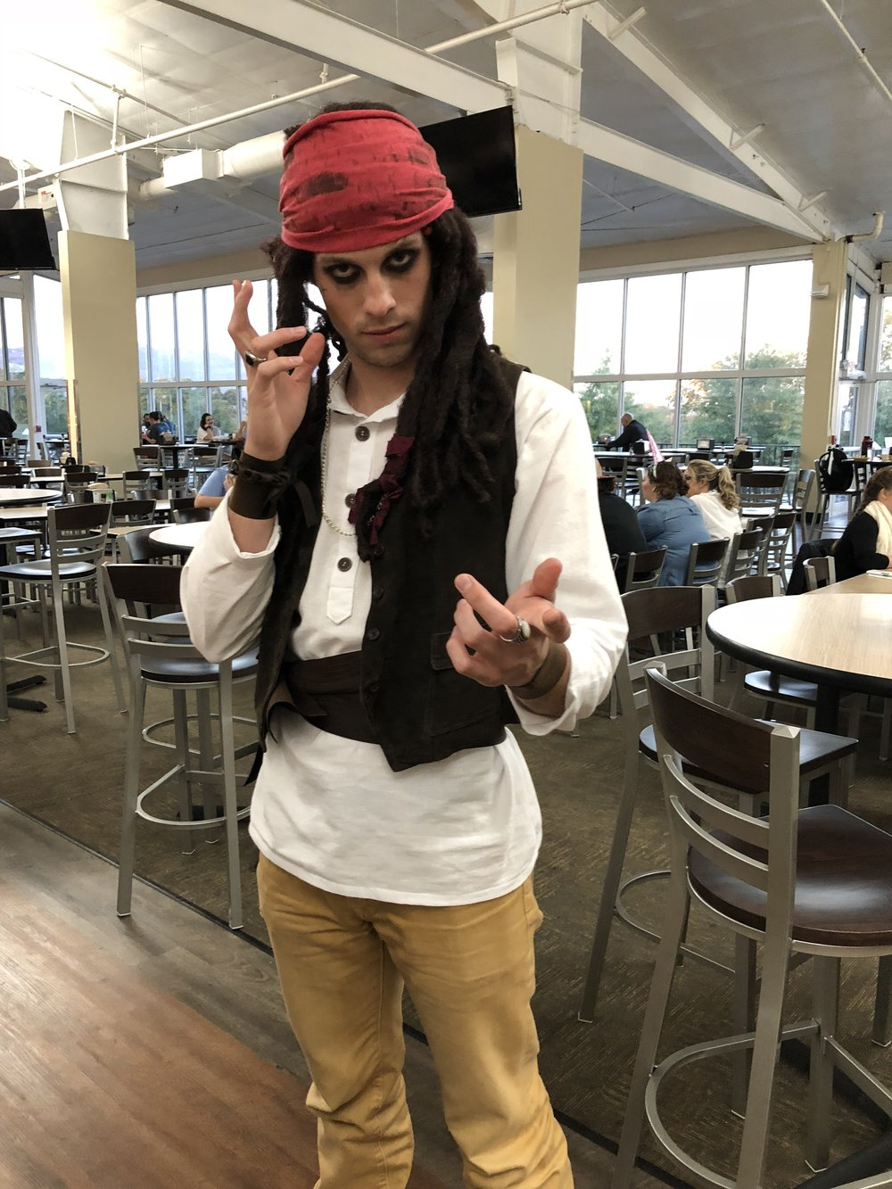 Sophomore Quinn Varnado channels his inner Johnny Depp with the addition of guy-liner.