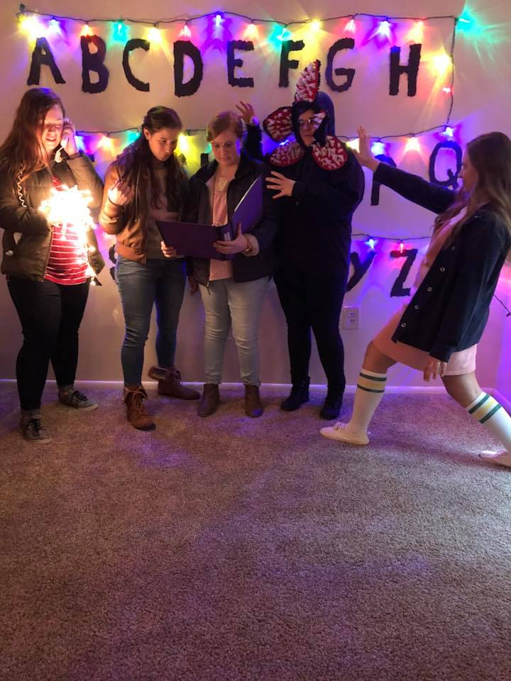 From left to right: Sophomore Rheannan Wyandt, Senior Elise Rimmer, Sophomore Mary Mahan, Junior Amy Hubbard, and Junior Danielle Ramey dress up as characters from one of 2017's most popular TV shows.